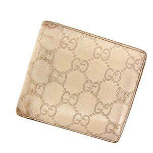 Gucci Wallet Purse Bifold Guccissima White Woman Authentic Used